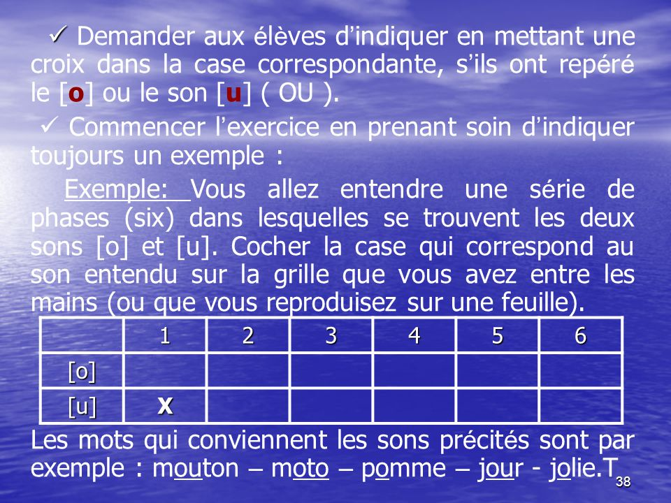  Demander aux élèves d'indiquer en mettant une croix dans la case correspondante, s'ils ont repéré le [o] ou le son [u] ( OU ).